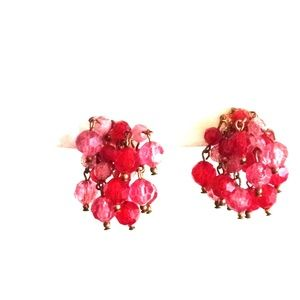 Dangling Cranberry Beads Earrings Clip On, Vintage